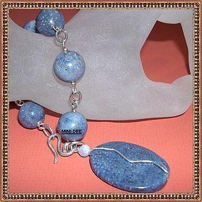 Signed Mimi Dee Sterling Silver Blue Coral Bracelet