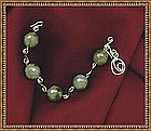Signed Bracelet w 20mm Labradorite and Sterling Silver