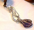 Signed Studio Sterling Pendant Carved Ametrine