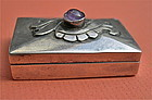 Vintage Mexico Silver Pillbox Amethyst Applied