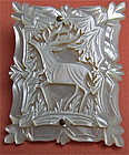 Vintage Victorian Carved Stag Mother of Pearl Pin