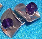 Signed Studio Sterling Hammered Cufflinks Amethyst