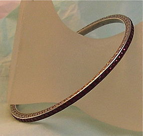 Vintage Art Deco 935 Silver Channel Set Round Bangle Bracelet