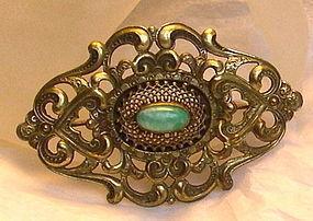 Vintage Green Jade Peking Art Glass Cab Brass Sash Pin