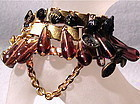 Trio Charm Bracelet 24K GP Bookchain Victorian Button Each
