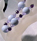 Signed Blue Lace Agate Bracelet Amethyst, Alexandrite Glass