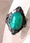 Vintage Unsigned Sterling Green Jade Peking Glass Ring