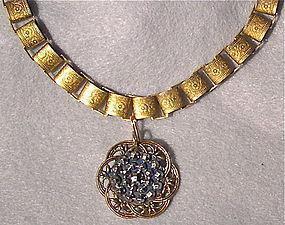Fancy Book Chain 24K GP Choker Antique Button Steel Necklace