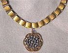 Fancy Book Chain 24K GP Choker Antique Button Steel Necklace