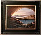 Signed Oil on Linen Painting Sailboat Serene Lake