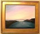 Signed Oil Linen American Seascape Sailboat Painting