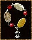 Signed Sterling Silver Bracelet Coral & Jasper & Charm