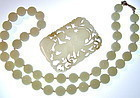 Vintage Chinese Reticulated Jade Pendant Plaque / Bead Necklace