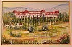 Signed Original American Miniature Watercolor Mt Washington Hotel