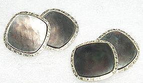 Antique 14K WG YG  Gold Larter Abalone Double Sided Cufflinks