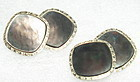 Antique 14K WG YG  Gold Larter Abalone Double Sided Cufflinks