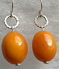 Earrings Natural Antique Butterscotch Yellow Amber 18mm Beads Sterling