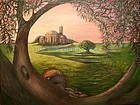 Signed American Original Acrylic Landscape Olive Tree Painting Dalia's