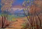 Signed American Oil Landscape Mini Woodland Path III Painting