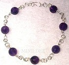 Signed Sterling Silver Hand Hammered 15mm Amethyst Bead Necklace