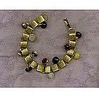 Charm Bracelet Bookchain 12 Victorian Button 24K GP