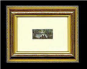 Signed American Micro Mini Watercolor Painting Marginal