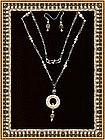 Necklace Set Sterling Coral Moonstone Gems
