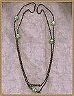 Vintage Gun Metal Longchain Green Glass Beads Crystal