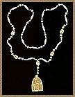Long Necklace White Molded Milk Glass Egypt