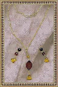 Necklace Set Etched Amethyst Glass Deco Drop