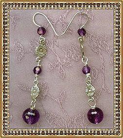 Hand Made Earrings Sterling Faceted Amethyst Gems
