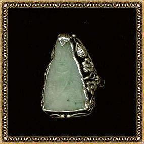 Vintage Arts Crafts Deco Sterling Silver Leaf Ring Carved Jade