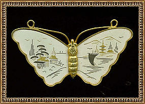 Signed Amita Damascene Butterfly Pin Brooch