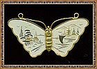 Signed Amita Damascene Butterfly Pin Brooch