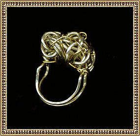 Signed Sterling Silver Studio Ring Woven Dome