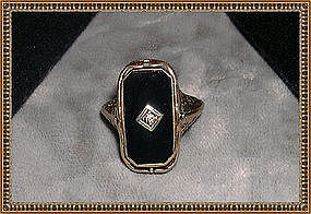 Vintage Antique Flip Ring Edwardian Filigree 10K Onyx