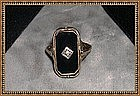 Vintage Antique Flip Ring Edwardian Filigree 10K Onyx