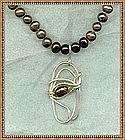 Signed Set Brown Pearls Earrings Pendant