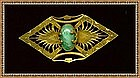Vintage Gilt Brass Sash Pin Green Art Glass Cab Mottled