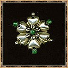 Sterling Mexico Pin 6 Puffy Hearts Flower Green Cabs