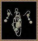 Signed Sterling Pendant Set Aquamarine Rose