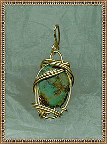Pendant Large Turquoise 14K Rolled Gold Charm