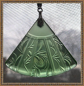 Etched Glass Drop Necklace Green Fan Art Deco