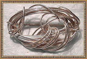 Signed Sterling Silver Pin Lunar Eclipse Handwrought