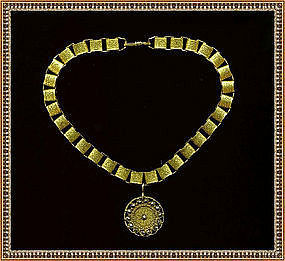 Fancy Book Chain Choker 24K GP Antique Button