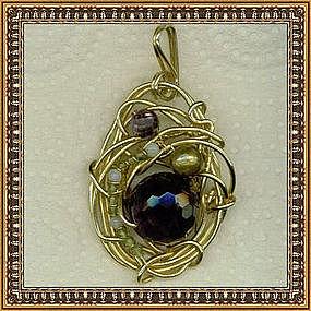 Signed Pendant Amethyst Pearls Opal Peridot