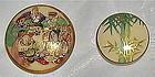 Antique Japanese Satsuma Button 7 People gods; Bamboo Duo