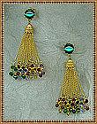 Vintage Miriam Haskell Earrings Multi Chain Swarovski