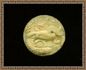 Vintage Antique Carved Ivory Button Dragon Scales