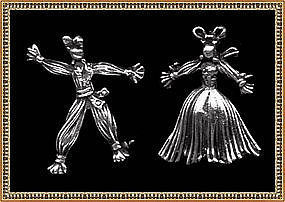 Vintage Unsigned Sterling Fabric Figures Doll Pin Pair